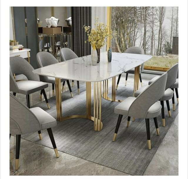 Modern Rectangular Dining Table With Gold Base And White Marble Top Seats 8 10 In 2020 Dining Table Marble Luxury Dining Tables Dining Table Design Modern