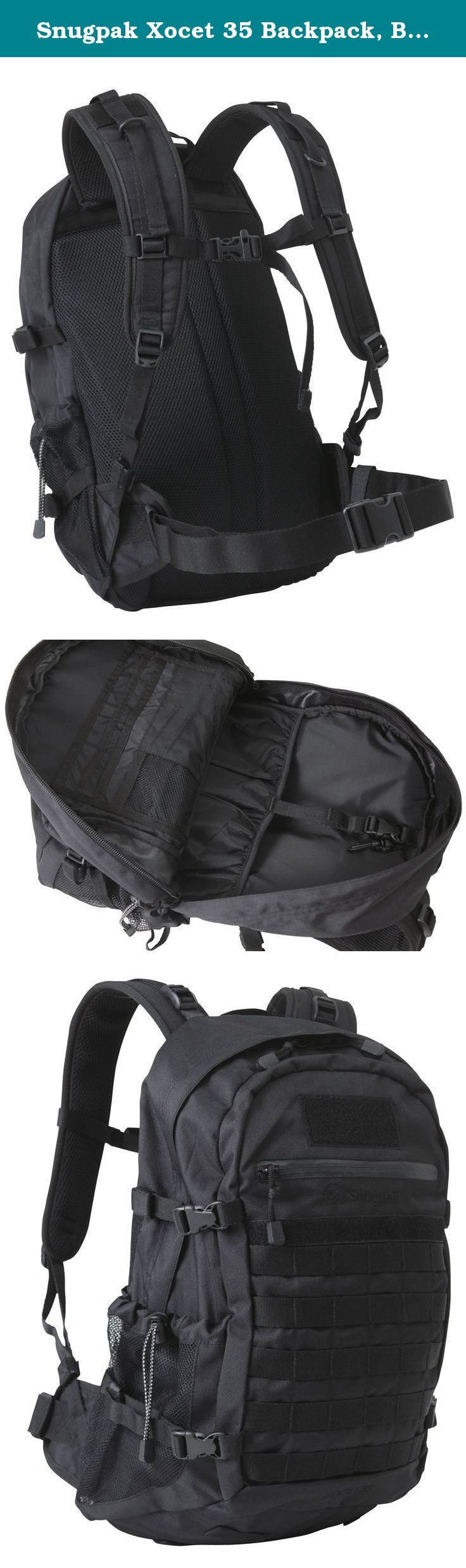 Snugpak Xocet 35 Backpack, Black. The Xocet 35 Backpack by Snugpak has received rave reviews. It has a lot of great features that many will like and appreciate. There is a roomy main compartment for your gear with a Hydration system sleeve and an outlet port through the top to run the drinking tube. The main compartment has an organization system to help store and arrange various items. In addition, there is a zippered storage pocket for those items you want to keep secure and accessible....