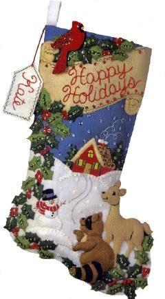 Bucilla Woodland Holidays Felt Stocking Kit