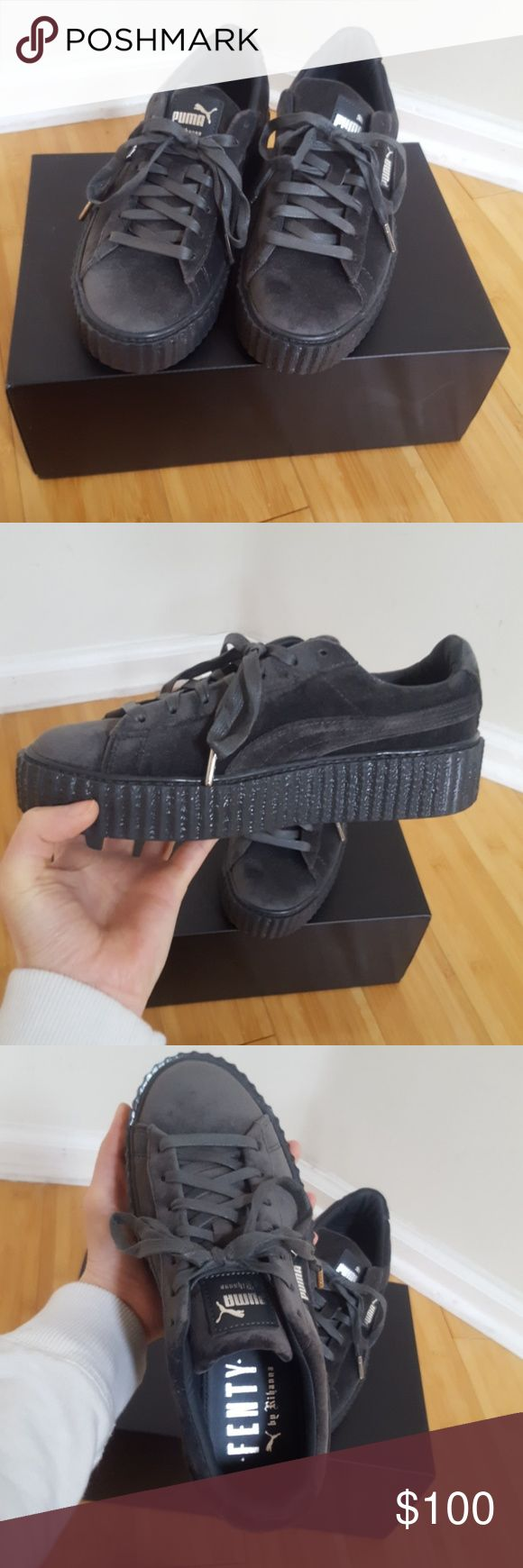 Puma Fenty Grey Sneakers New Fenty velvet sneakers! Comes with box, no bag. Was on display but there are no visible marks or dents! Size 7.5   PRICE is FIRM. Puma Shoes Sneakers