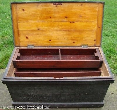 Antique Wooden Carpenters Tool Box, Fold Down Writing Desk