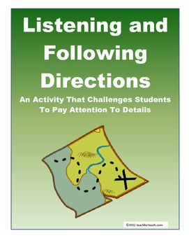 Listening and Following DirectionsAn Activity That Challenges Students To Pay Attention To DetailsThis activity is designed to challenge students to listen closely to directions and complete tasks in the correct locations on a grid.Interested in more following directions and reading comprehension activities?