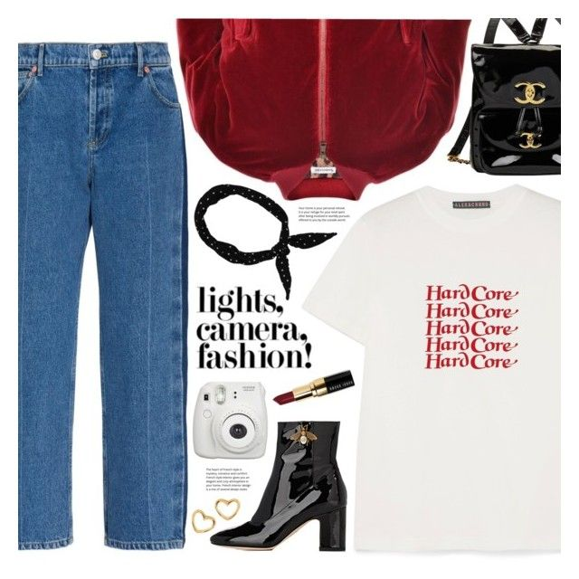 """lights, camera, fashion (TOP SET 28th DECEMBER)"" by valentino-lover ❤ liked on Polyvore featuring Balenciaga, AlexaChung, Dolce&Gabbana, Chanel, Gucci, Fujifilm, Marc by Marc Jacobs and Bobbi Brown Cosmetics"