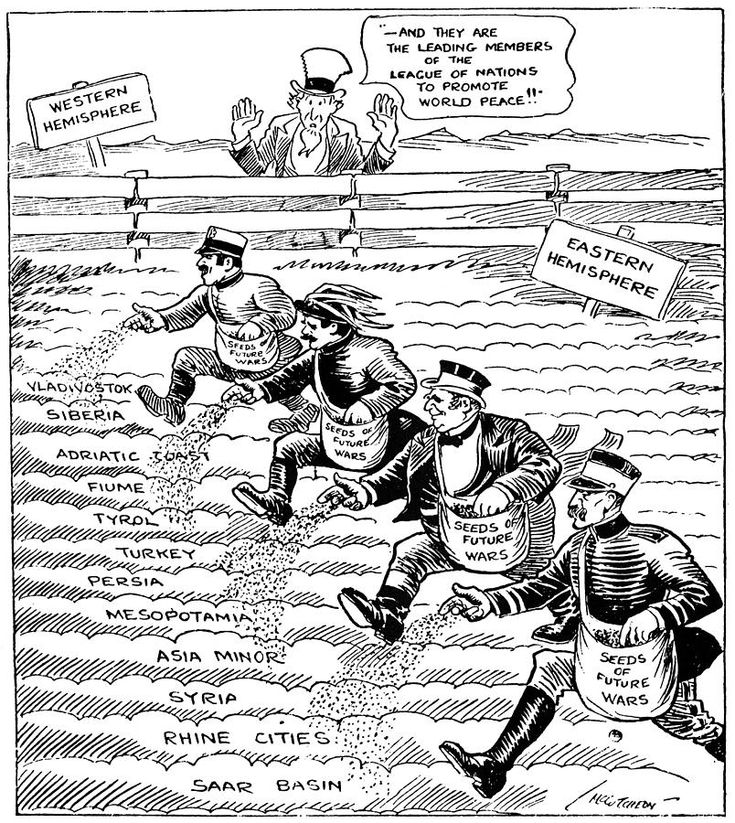 A Political Cartoon of the League of Nations. It shows how The U.S. stays out of it while other nations plant seeds for future wars in the League of Nations.