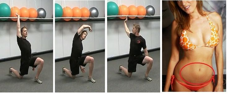 """Three Way Hip Flexor Stretch --> End """"Lower Belly Pooch"""" This stretch will bring your hips back to where they should be, ease forward pressure on your lower back, and dial back the lower belly bulge. Also helps to stretch the tight hips to end lower back pain."""