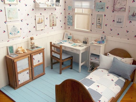 """Bedroom Doll OOAK Diorama """"Ocean's Breeze""""- Blythe/Pullip/Lati/Pukifee/Yosd/BJD/Dal"""