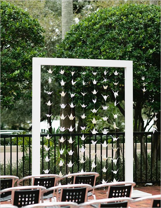 origami altar - I like this VERY much.: Metals Frames, Origami Altars, Paper Cranes, Wedding Ideas, Origami Altered, Origami Backdrops, String Lights, Wedding Arches, Origami Cranes