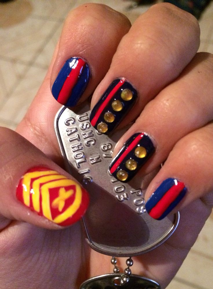 33 best nail designs images on pinterest usmc nails packer usmc nail art prinsesfo Images