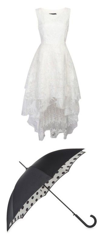 """kjg"" by rayneyarycky on Polyvore featuring dresses, wedding dresses, accessories, umbrellas, dot umbrella, fulton umbrella, polka dot umbrella and fulton"
