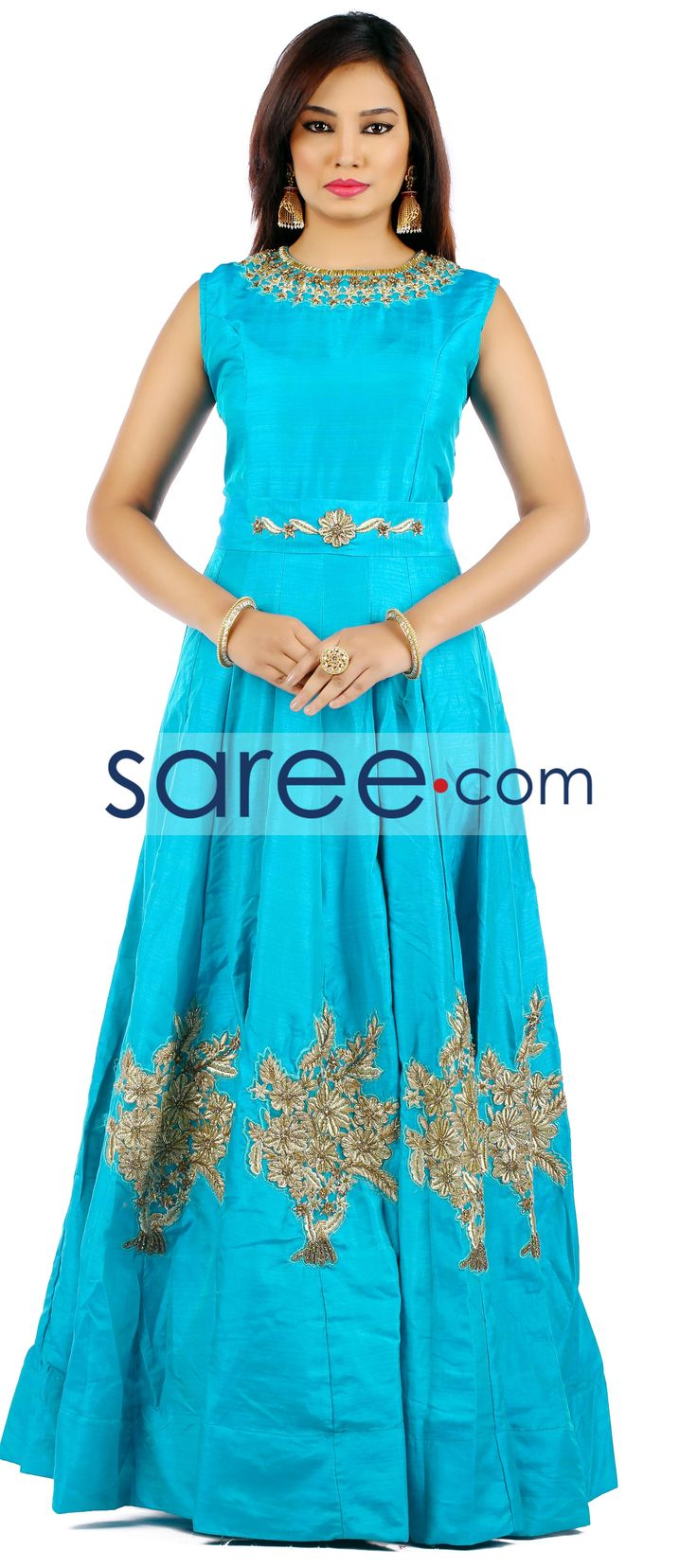 SEA GREEN SILK GOWN WITH CUTDANA WORK   #Gown #PartywearGown #ReceptionGown #IndoWestern #IndoWesternGown