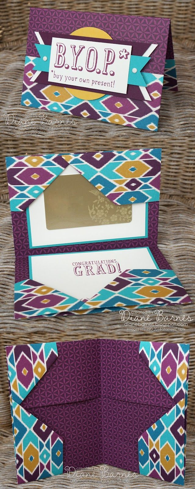 no cut patterned paper gift folder tutorial by Di Barnes using Stampin Up Bohemian paper & BYOP stamp set. #colourmehappy