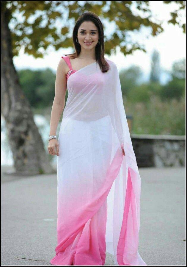 Simple Pink N White Saree Desi Looks