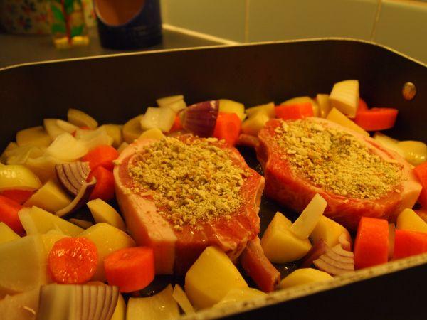 Pork chop tray roast