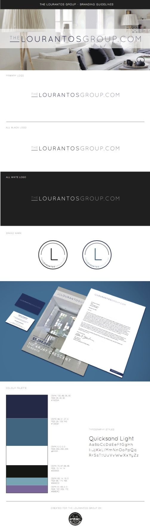 The completed branding guidelines we did for The Lourantos Group.