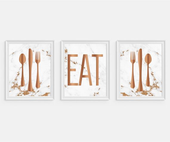 u0027Eatu0027 Art Print. Faux Copper and Marble.  sc 1 st  Pinterest & The 341 best Wall Art images on Pinterest | Room wall decor Wall ...