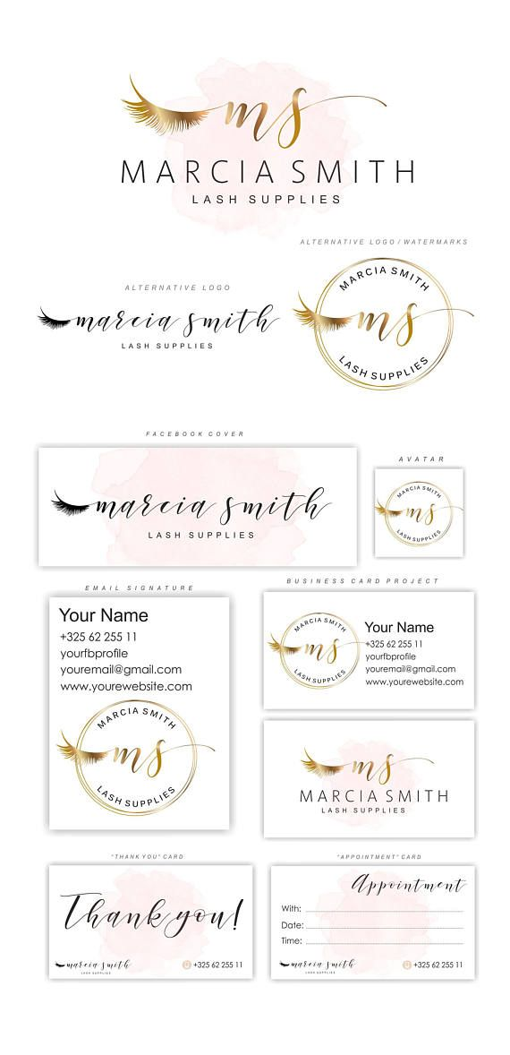 Gold Lashes logo, Eyelash logo, Gold lashes initials