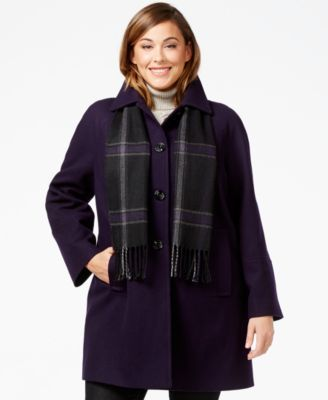 London Fog Plus Size Peacoat with Plaid Scarf - in Oatmeal.  Love this