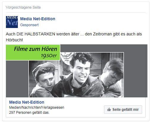 """60 Jahre DIE HALBSTARKEN ... dies war uns durchaus mal eine Facebook-Anzeige wert, für unser Hörbuch, die Nr. 6 der Reihe """"Filme zum Hören""""!"""