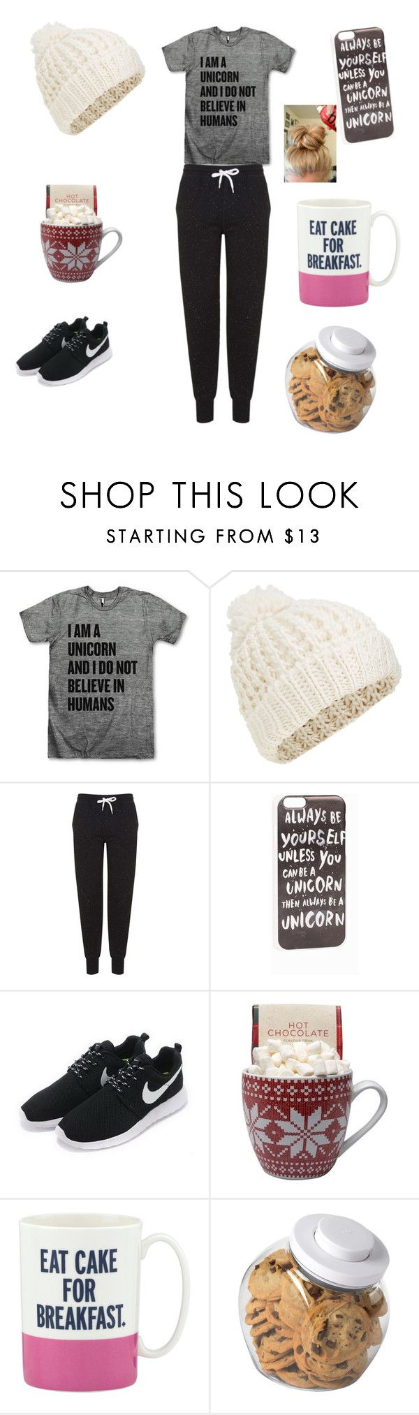 """A lazy day look"" by raquate1232 ❤ liked on Polyvore featuring Accessorize, Topshop, JFR, NIKE, Kate Spade and OXO"