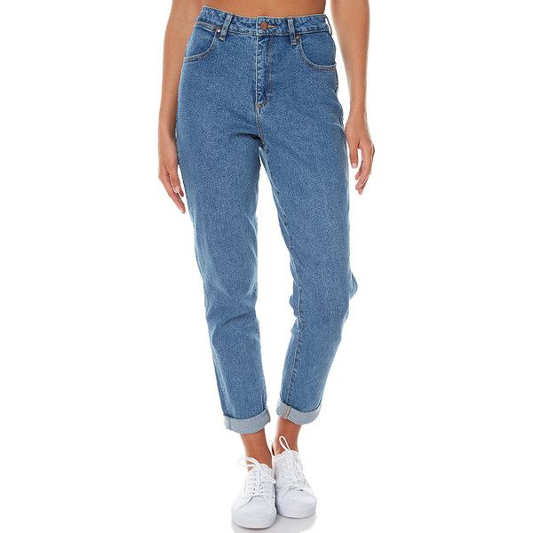 Wrangler Tyler Womens Mom Jean Blue ($105) ❤ liked on Polyvore featuring jeans, blue, mum jeans, women, cropped jeans, highwaist jeans, zipper fly jeans, relaxed fit jeans and high waisted blue jeans