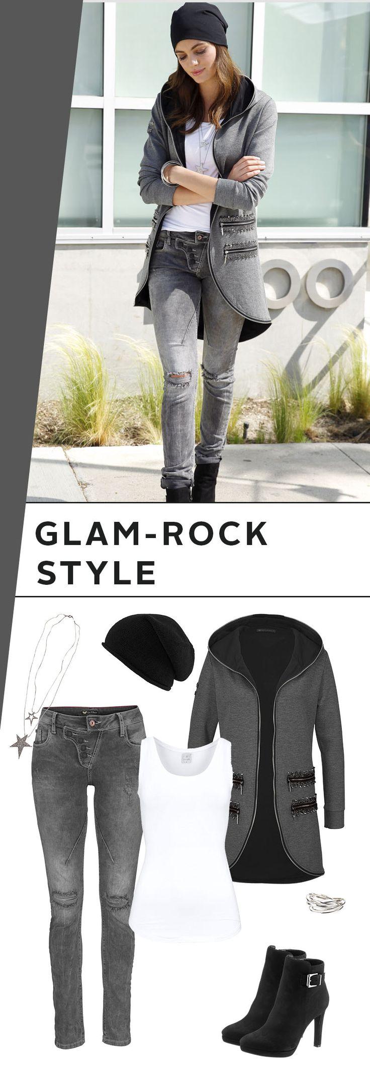 Highlight des fast schon futuristischen Outfits ist die Kapuzensweatjacke mit Nieten und Glitzerdetails, die du mit Slim-fit-Jeans im Destroyed-Look kombinierst. Mütze und Top machen die Kombi extrem cosy, während die Stiefelette für Eleganz sorgt.