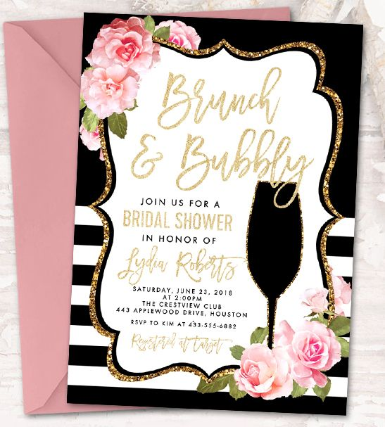 Instantly Personalize – Editable Bridal Shower Invitation Template – Brunch and Bubbly – Gold Champagne Flowers – Instant Download Printable