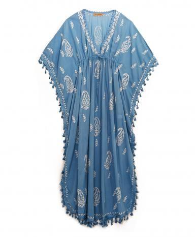 Muzungu Sisters Blue Cotton Tassel Caftan