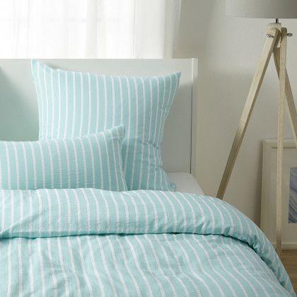 #beds #bedlinen Elegante Seersucker Bettwäsche Edge mint Kissenbezug einzeln 40x80 cm: Elegante Seersucker Bettwäsche… #mattresses #pillows