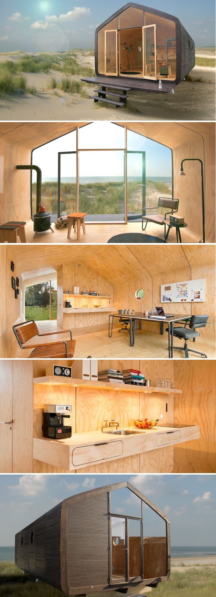 View toward kitchen the alpha tiny home by new frontier tiny homes - Designers Use Recycled Cardboard To Create Eco Friendly Modular Homes