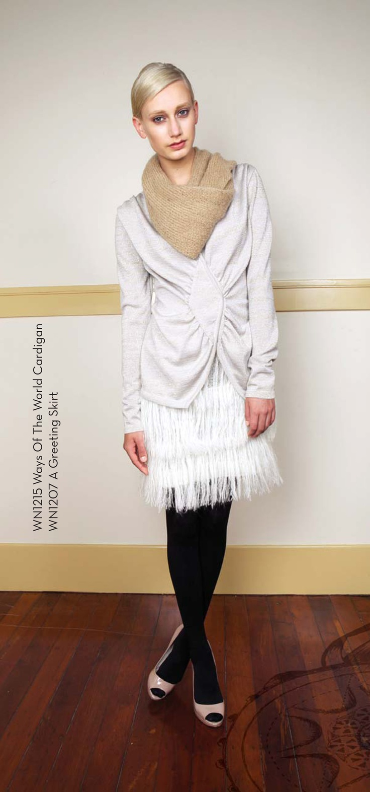 Ways of the World cardigan from 100% Merino and A Greeting Skirt from 70% Kid Mohair 30% Nylon