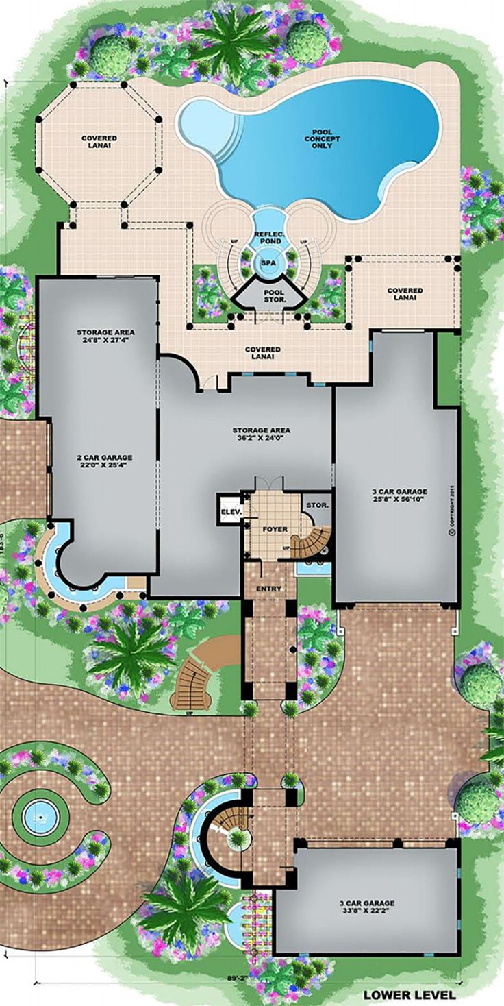 Mediterranean Style House Plan - 6 Beds 6 Baths 8364 Sq/Ft Plan #27-538 Floor Plan - Main Floor Plan - Houseplans.com