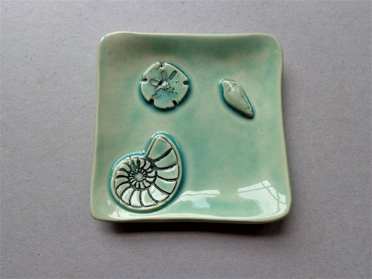 Sea life square ceramic ring holder dish, pottery multi use turquoise celadon coastal beach jewelry catcher, ocean soap business card holder by MonikaWithaKCeramics on Etsy