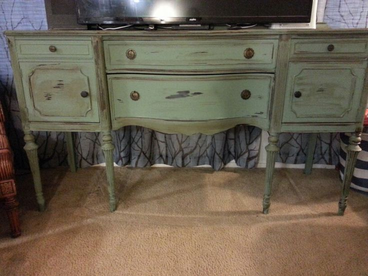 Antique Buffet Turned Into A Tv Stand Chalk Paint My