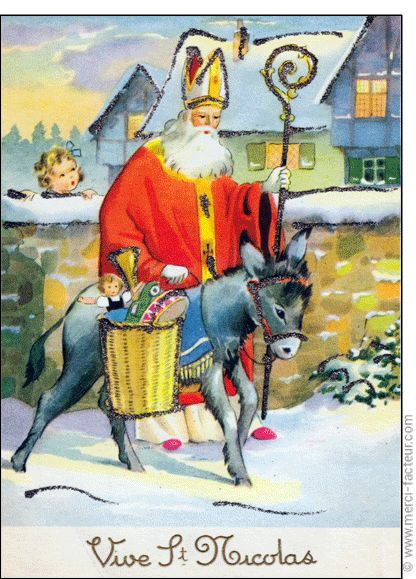 #Carte #SaintNicolas #stNicolas Carte Saint Nicolas sur son �ne gris pour envoyer par La Poste, sur Merci-Facteur !