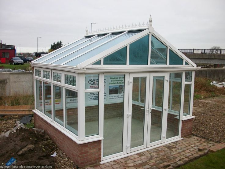 Ex Display Upvc White Freestanding Upvc Conservatory 4000 x 3400 with Glass Roof
