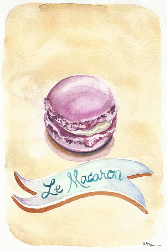 Le Macaron: Original Watercolor Painting French Macaron (Macaroon Cookie)