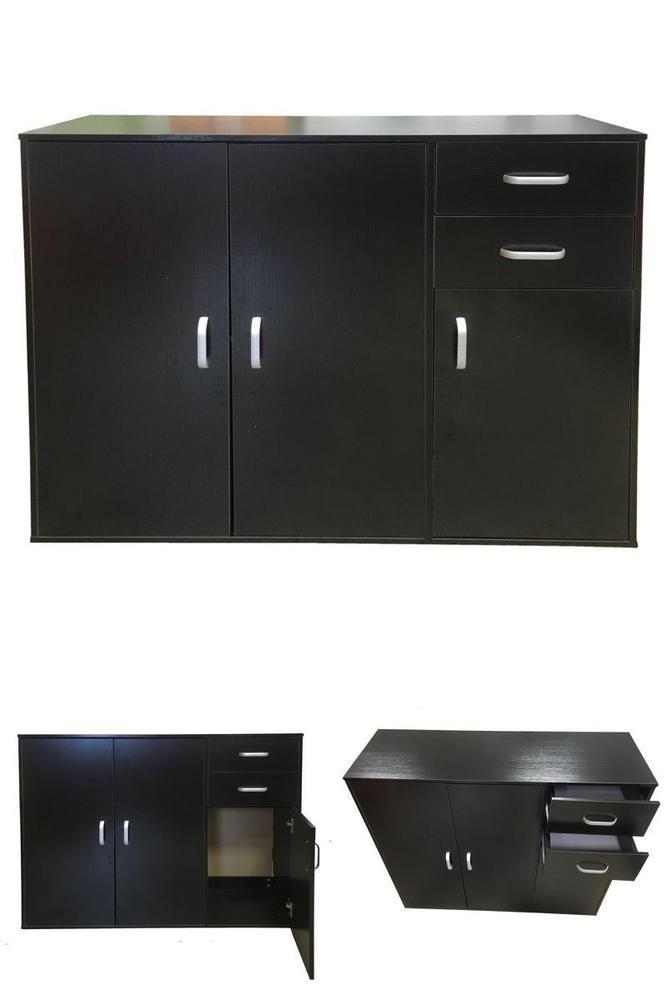 Sideboard Cupboard Black Dark Walnut  3 Doors + 2 Drawers Wooden Cabinet Chest