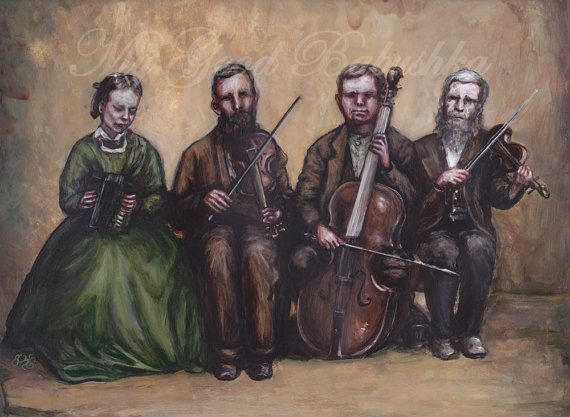 Hostetler Blind Family Quartet Original Painting by mygoodbabushka