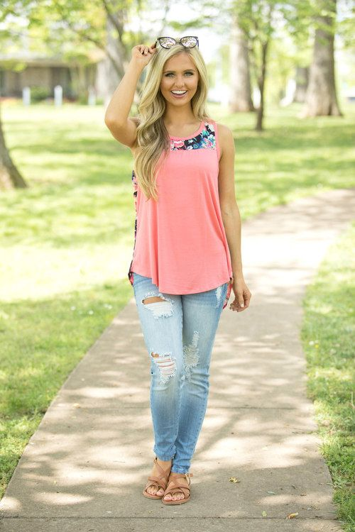 Summer Of Love Floral Tank Coral - The Pink Lily