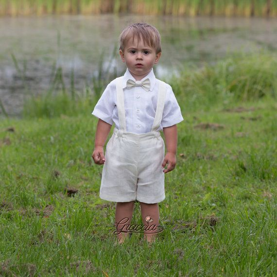Give your baby beautiful clothing. In gratitude he will give you a smile.  Baby boy natural linen suit includes SET of 4: Shorts Suspenders Shirt Bow tie
