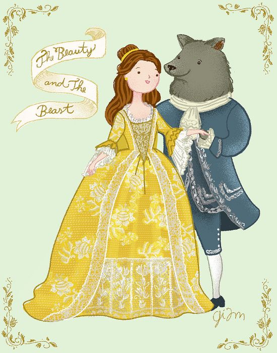 Illustration of Beauty and the Beast by artist Giovana Milanezi