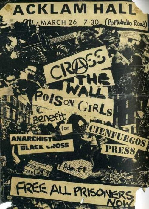 Old Punk Flyers — CRASS, The Wall & Poison Girls @ Acklam