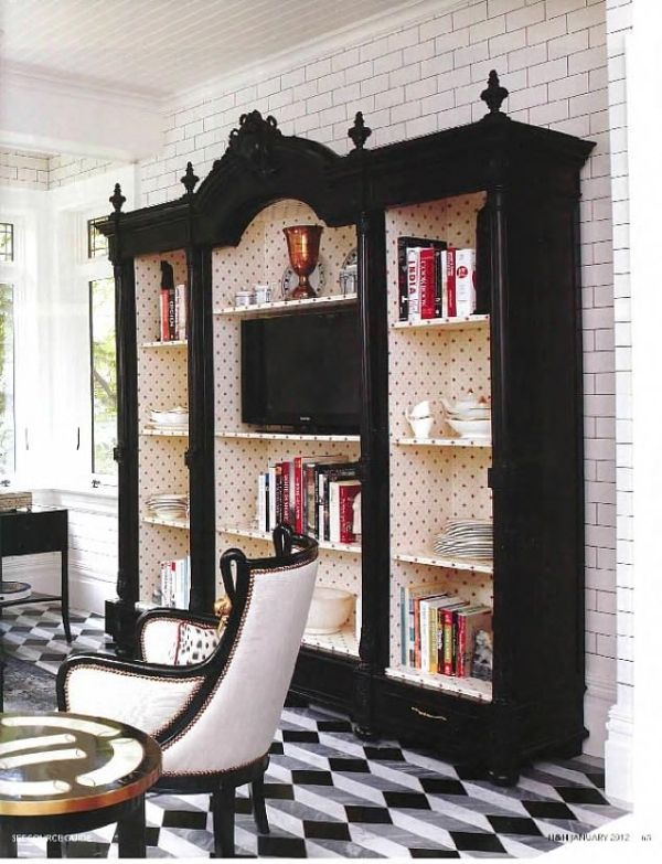 tommy smythe house and home 2012 black white black bookcase by Kendra.g.unit.grant