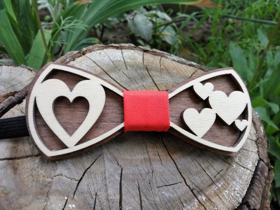 Free Shipping! Hearts Wooden Bow Tie Love Wood Bow Tie Unique Design Bowtie Wood Bowtie Wooden Bowtie Mens Bow Tie 100% Hand Made Mens Gift