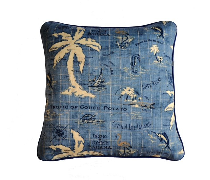 Island Song . Outdoor Cushion Cover . Island . Coastal Cushion . Blue Cushion . Map Design . Denim Blue by JulieAlvesDesigns on Etsy