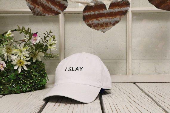 I SLAY Baseball Hat Embroidered White Polo Baseball Cap Low Profile Curved Bill  ✷ Baseball Cap  ✷ One Size adjustable strap, buckle design may