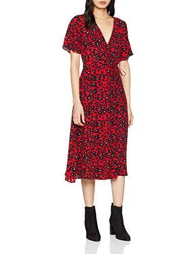 ff12a8d2c3 New Look Albie Animal Vestido para Mujer Rojo (Red Pattern) 34 (Talla del  Fabricante  6)
