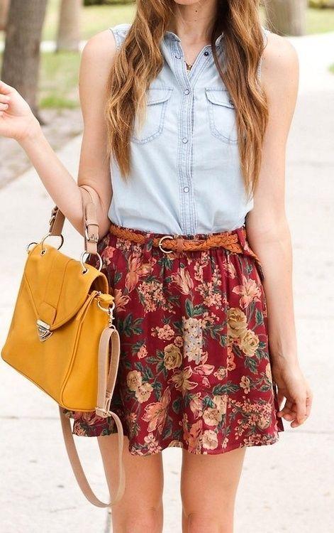 Outfit de verano , comprar , pollera floreada , vestido floreado , y saquito de jean delgado