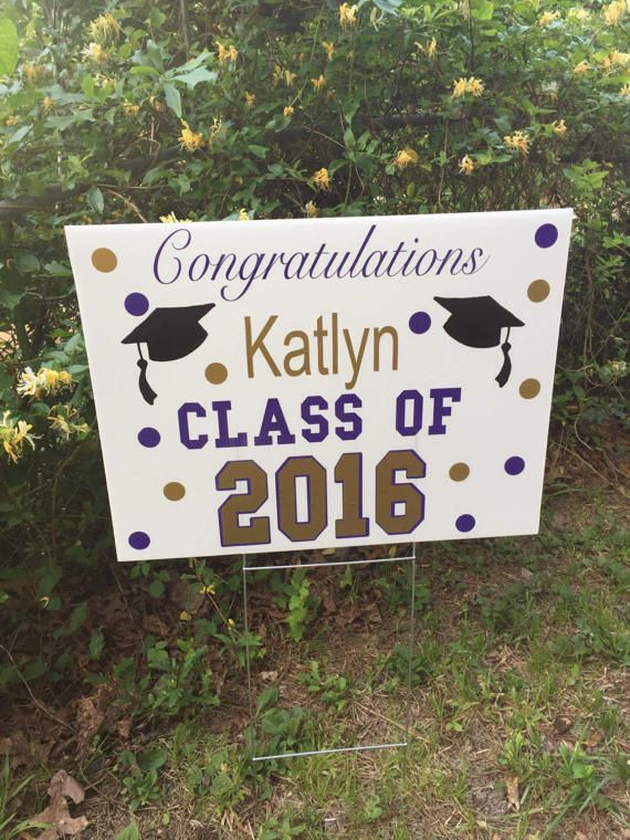 Perfect way to announce your Graduate! Outdoor yard sign with your Graduates name, the year graduated, and the vinyl will be done in your school or preferred colors! Great for their senior party or to let your neighbors know your accomplishment! Outdoor/weather proof. Sign measures 14x18 and comes with the metal steak. In notes, please let me know all info and colors needed
