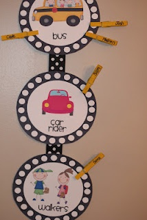 Make for end of the day transportation.  Then write the bus numbers on the clothespins for bus riders.